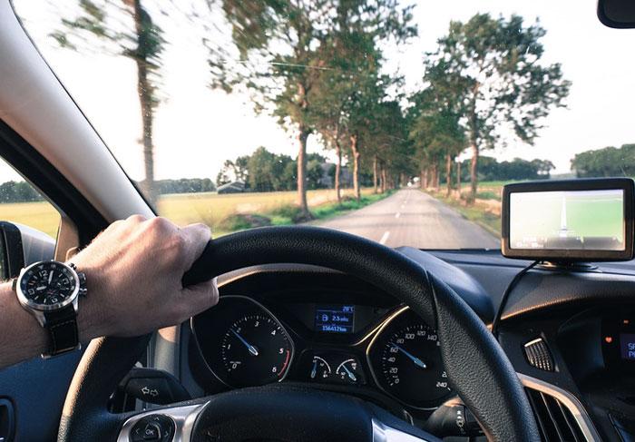 A man driving car